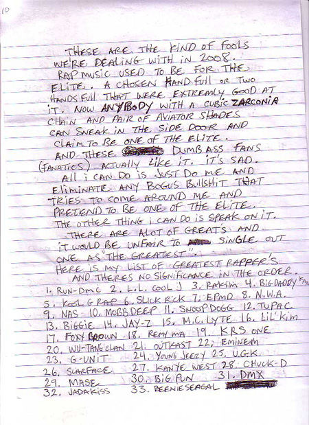 prodigy writes a letter from jail naming his  u0026 39 40 greatest