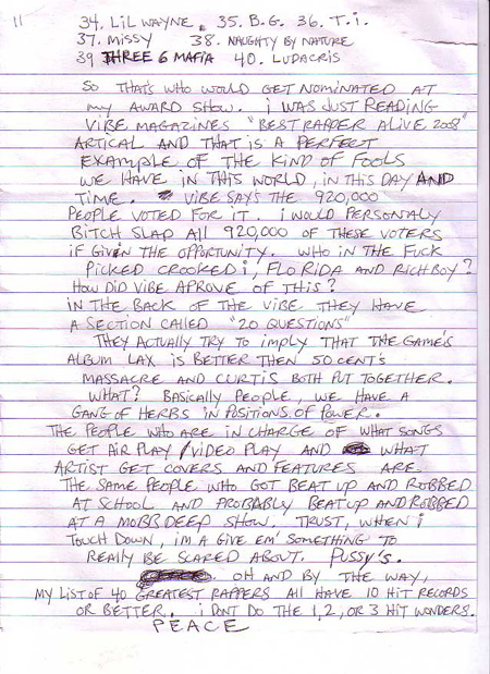 Prodigy Writes A Letter From Jail Naming His 40 Greatest