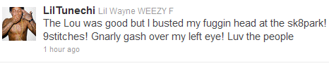 lil wayne accident tweet