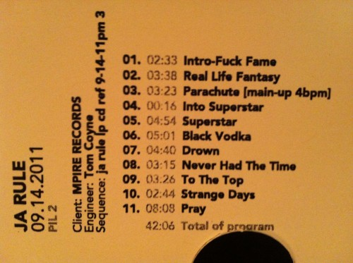 ja rule PIL2 track list 500x373