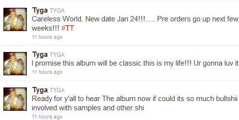 tyga careless world pushed back