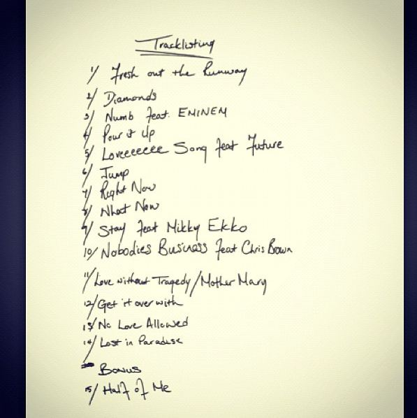 Rihanna – unapologetic album cover track list