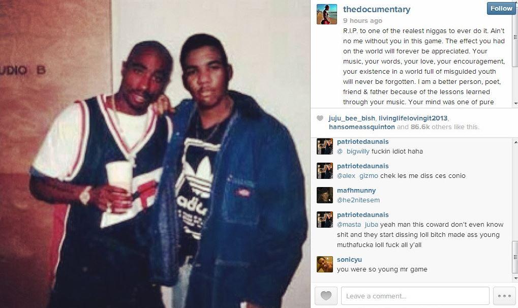 The Game Speaks On Tupac Photoshopped Instagram Photo