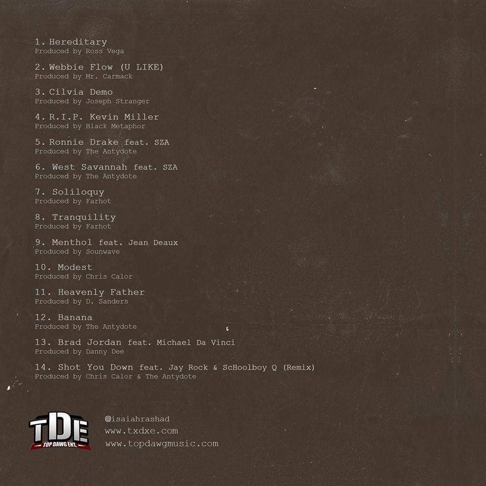 isaiah rashad � cilvia demo artwork amp track list
