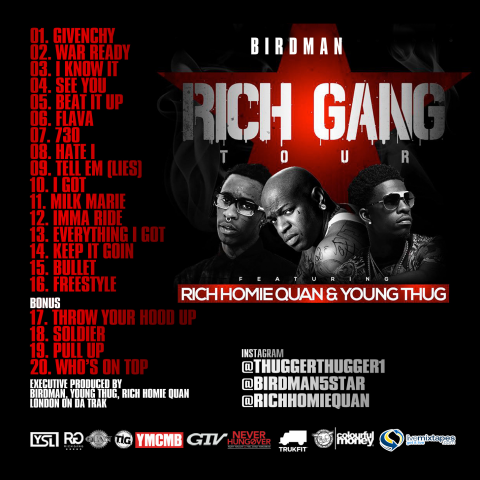 Rich Gang Tha Tour Part  Tracklist