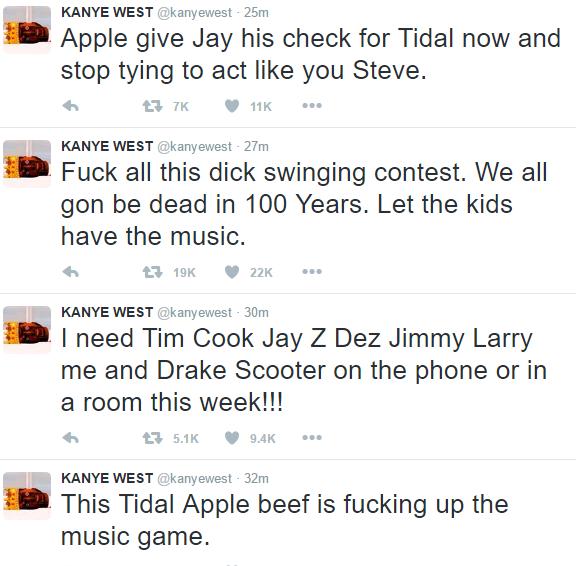 kanye tweets apple tidal