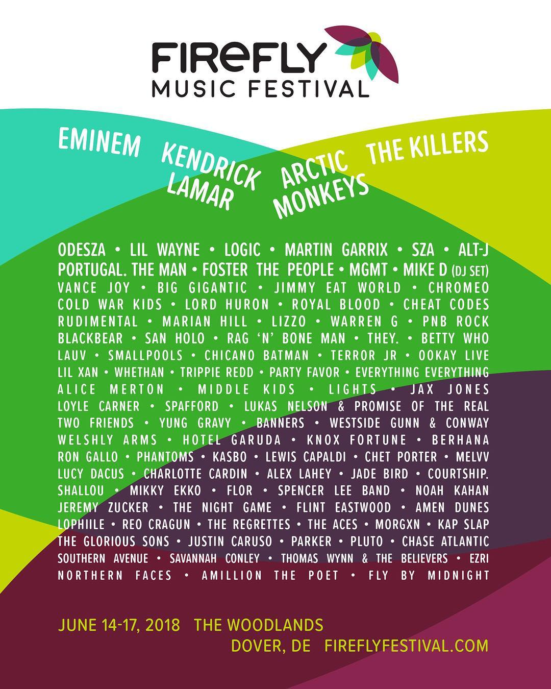 Firefly Music Festival Lineup Features Eminem, Kendrick Lamar & The Killers