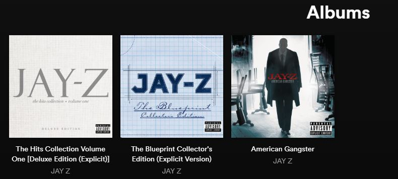 Jay z puts three albums back on spotify hiphop n more we noticed the three albums live on the service a few hours ago july 8 this is a significant development as last april he removed his entire catalog malvernweather Images