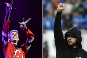 Fall Out Boy Fans Accuse MGK of Tricking Them Into Eminem 'Killshot' Shirt Photo