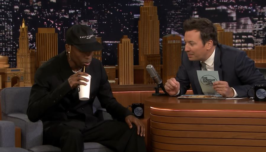 7e15e994a38d Travis Scott is getting some good press this week. Before he takes the  stage at Saturday Night Live tomorrow, he made a brief stop on The Tonight  Show ...