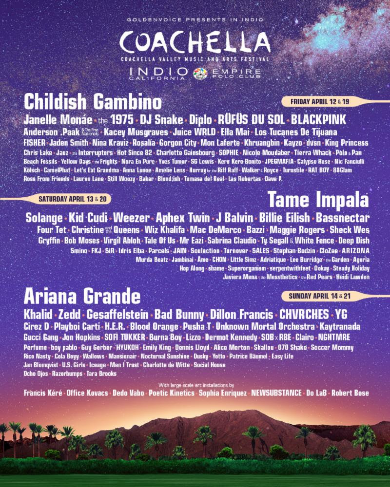 Childish Gambino, Tame Impala and Ariana Grande will headline this year's Coachella